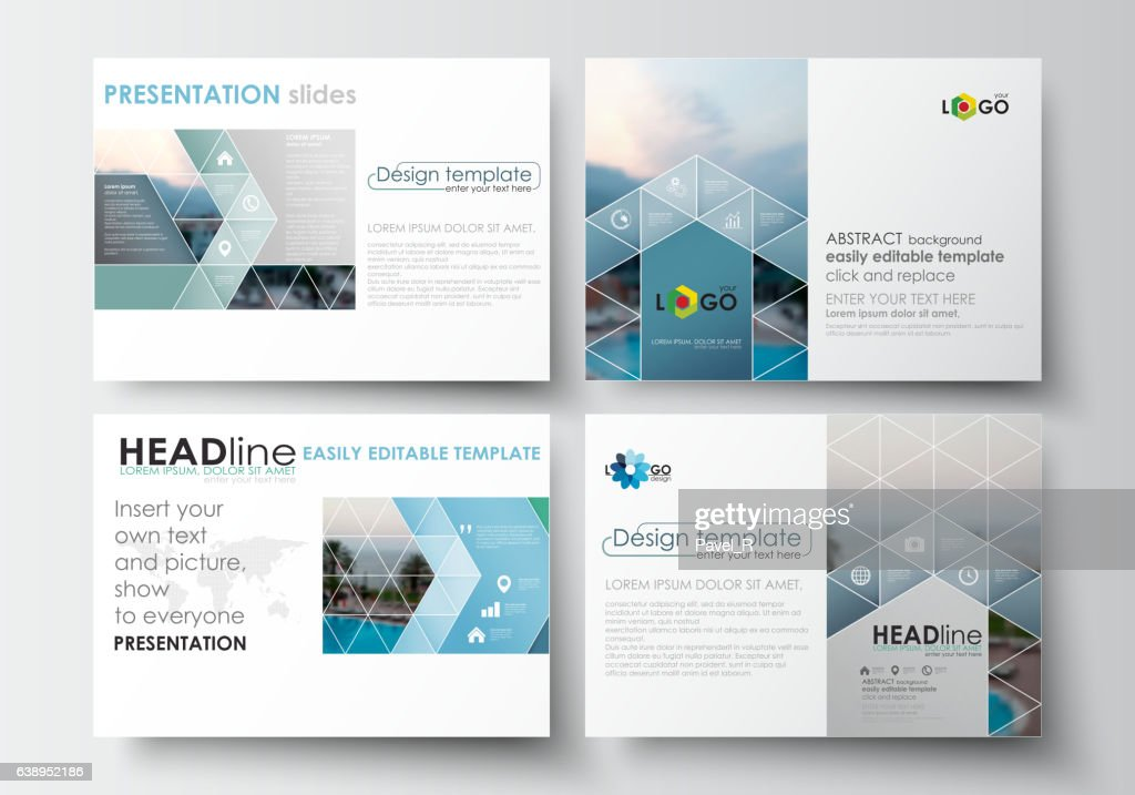 Set of business templates for presentation slides. Flat design blue