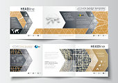 Set of business templates for tri-fold brochures. Square design