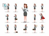 Set of business woman character poses.