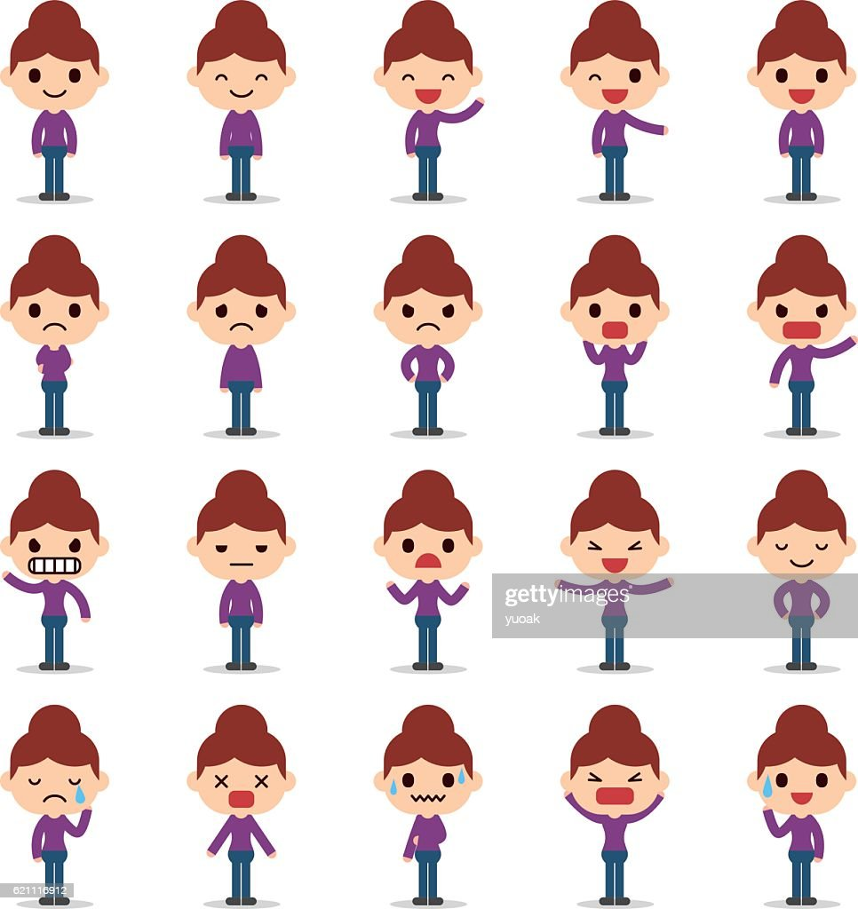 Set of business woman character : stock illustration