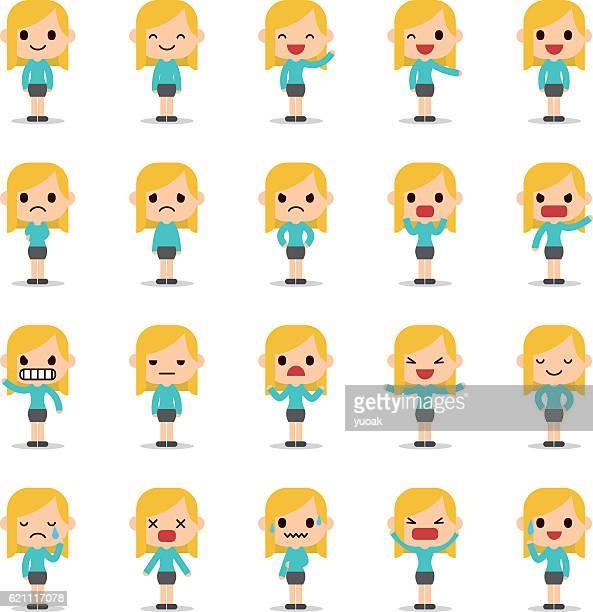 set of business woman character - human representation stock illustrations, clip art, cartoons, & icons