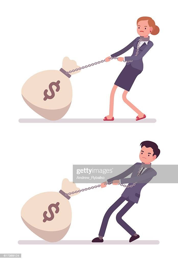 Set of businessman and businesswoman dragging a giant money sack