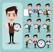 Set of businessman and clock , eps10 vector format