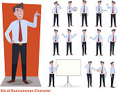 set of businessman character in office