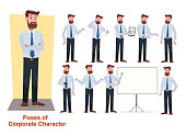 set of businessman character in office working model in shirt