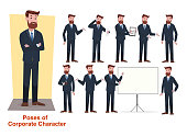 set of businessman character in office working model