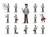 Set of businessman character poses.
