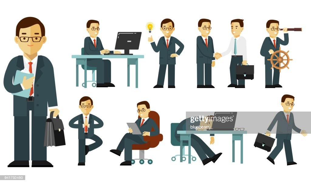 Set of businessman characters in different poses in flat style isolated on white background
