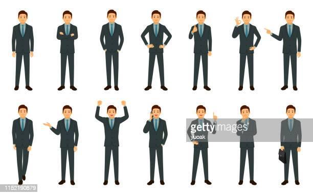 ilustraciones, imágenes clip art, dibujos animados e iconos de stock de conjunto de empresario aislado sobre fondo blanco - ejecutivo