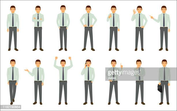 set of businessman isolated on white background - white collar worker stock illustrations
