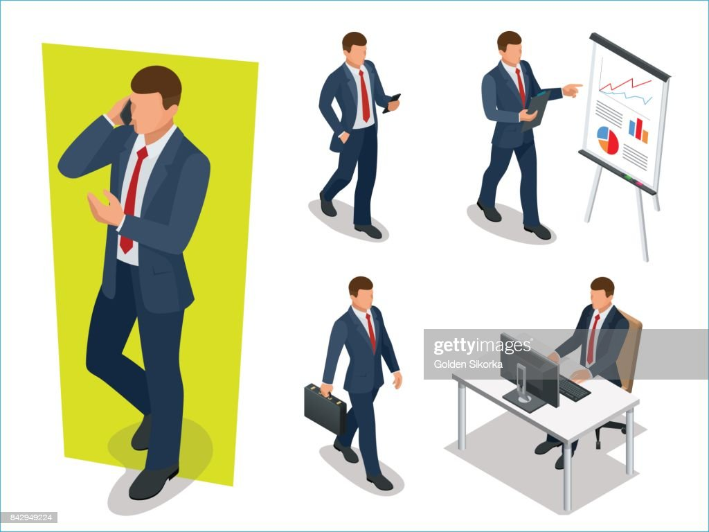 Set of Businessman Man on white background. Isometric character poses. Cartoon people. Create your own design for vector