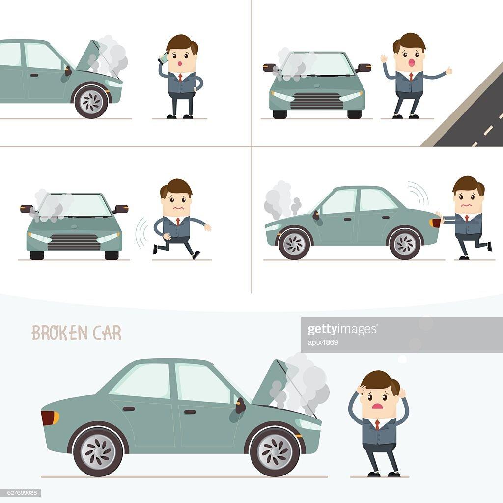 set of businessman with broken car