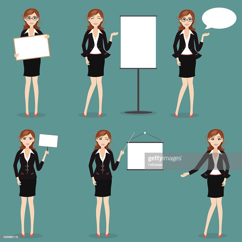set of businesswoman charactor : Vector Art