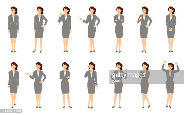 白い背景に分離されたビジネスウーマンのセット - スーツ点のイラスト素材/クリップアート素材/マンガ素材/アイコン素材