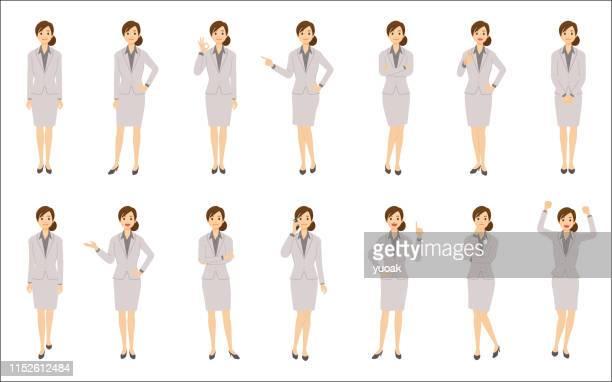 白い背景に分離されたビジネスウーマンのセット - 女性点のイラスト素材/クリップアート素材/マンガ素材/アイコン素材