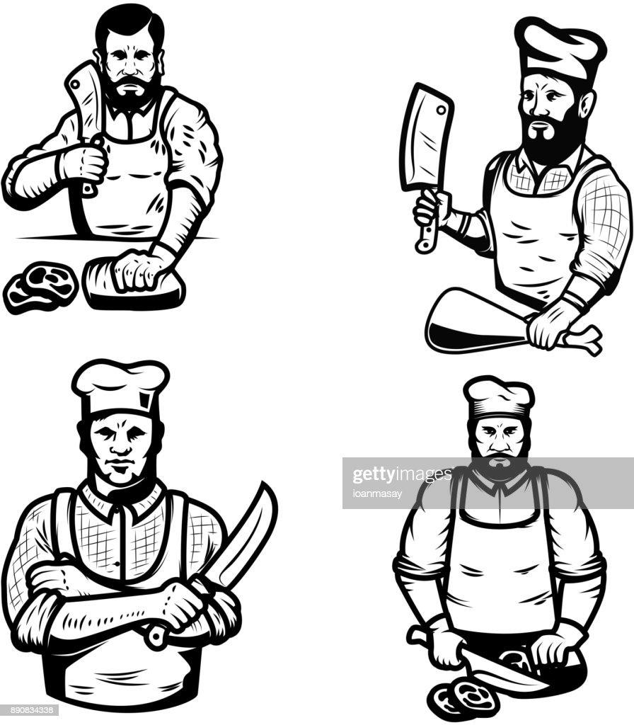 Set of butcher illustrations on white background.
