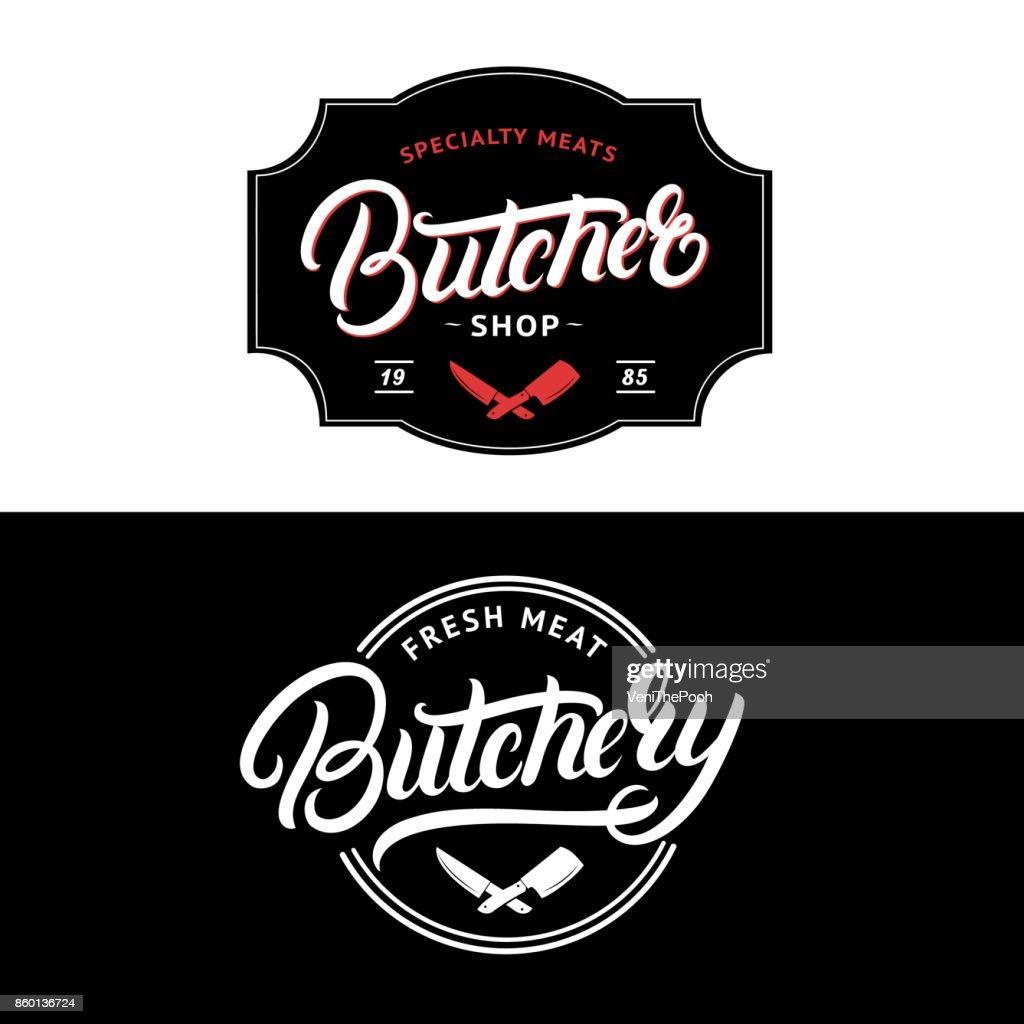 Set of Butcher Shop and Butchery hand written lettering label, badge, emblem.