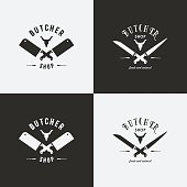 Set of butchery logo templates
