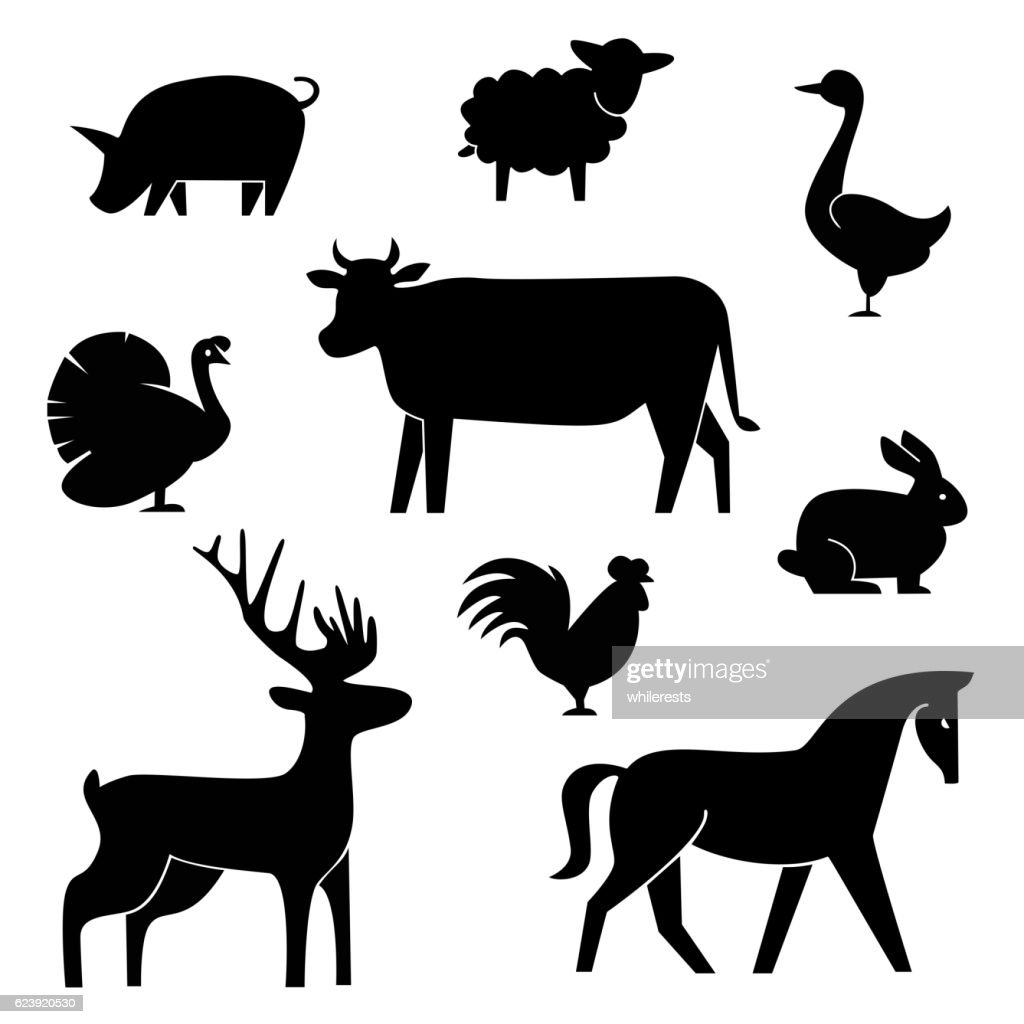 Set of butchery logotype templates. Cartoon farm animals with sample