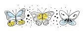 Set of butterfly. Hand drawn vector illustration. Decorative elements for