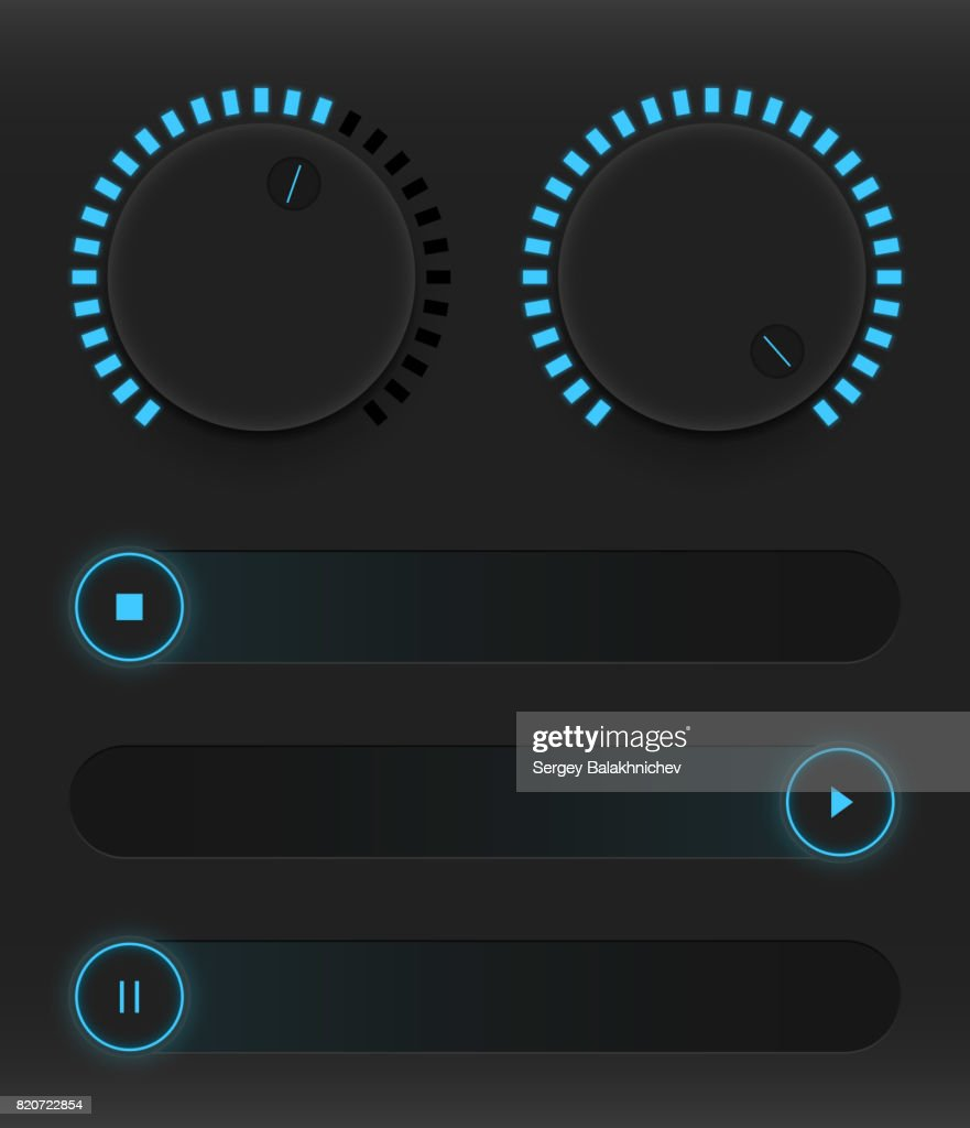 Set of buttons and sliders. Luminous, neon control user interface. Sound management. Blue sliders turn on, off and pause. Vector illustration