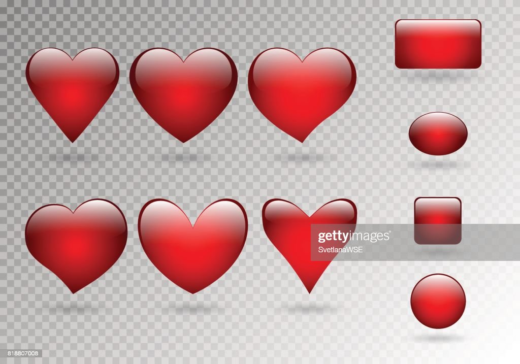 Set of buttons of hearts