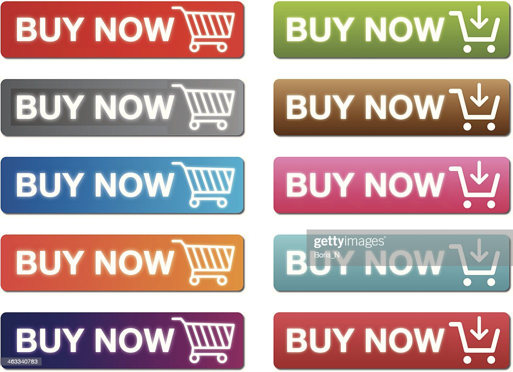 Set of buy now buttons in different colors