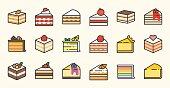 Set of cake, tiramisu, cheese cake, red velvet, orange, carrot, chocolate, mocha, crepe and rainbow cake, layer cake, filled outline icon