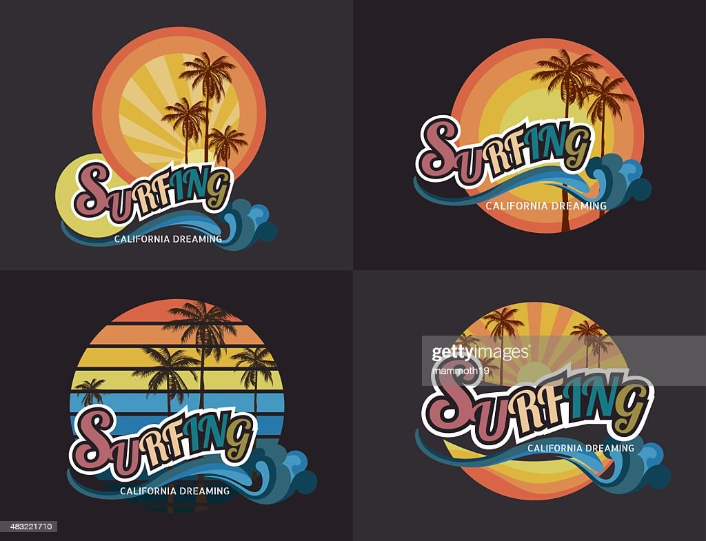 87876c2b Set of California surf typography, t-shirt graphics , vector format eps10 :  stock