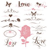 Set of calligraphic hearts, flowers and other decorative elements