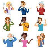 Set of calling mobile business adult people talking phone character