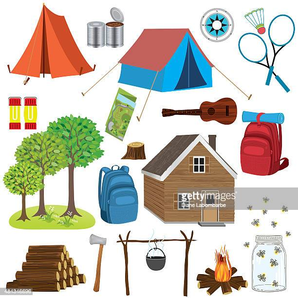 set of camping and hiking elements - tent stock illustrations, clip art, cartoons, & icons