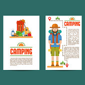 Set of camping cards
