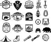 Set of camping, hiking, tourism emblems. Design element for emblem, sign, label, poster.