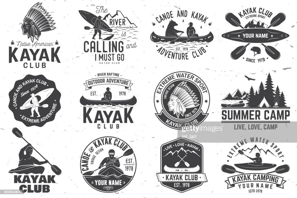 Set of canoe and kayak club badges. Vector illustration
