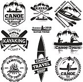Set of canoe and kayak labels. Two man in a