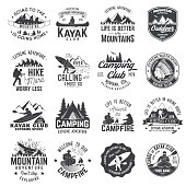 Set of canoe, hiking, kayak and camping club badge