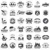 Set of canoe, kayak, fishing and camping club badge