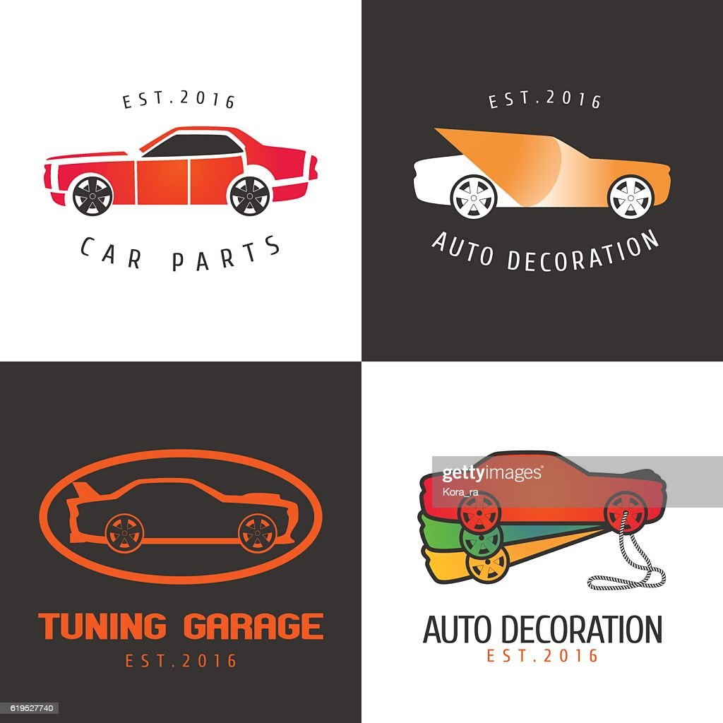 Set Of Car Paint Car Parts Vector Icon Symbol Sign Stock