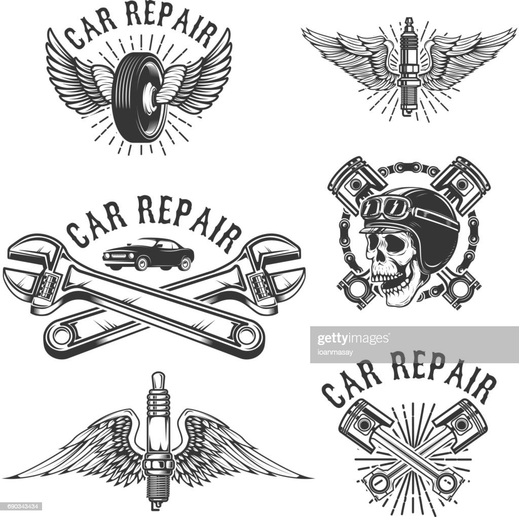 Set of car repair and racing emblems. Spark plug with wings, racer skull, pistons and wheel. Design elements for label, badge. Vector illustration