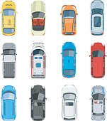 Set of car top view vector set