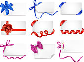 Set of card notes with gift bows and ribbons.