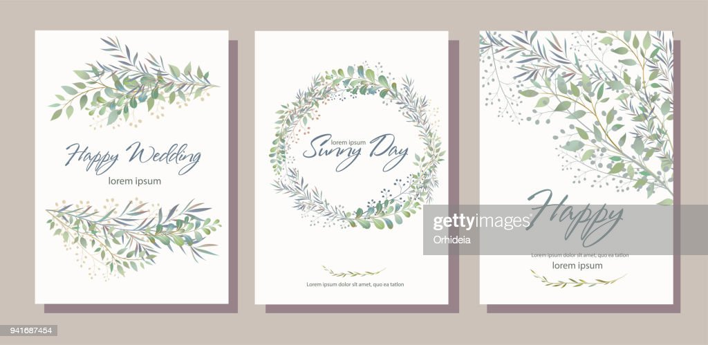 Set of card with beautiful twigs with leaves. Wedding ornament c