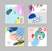 Set of cards and posters with creative collage