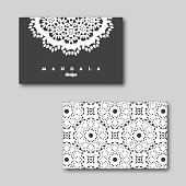 Set of cards, flyers, brochures, templates with mandala pattern.