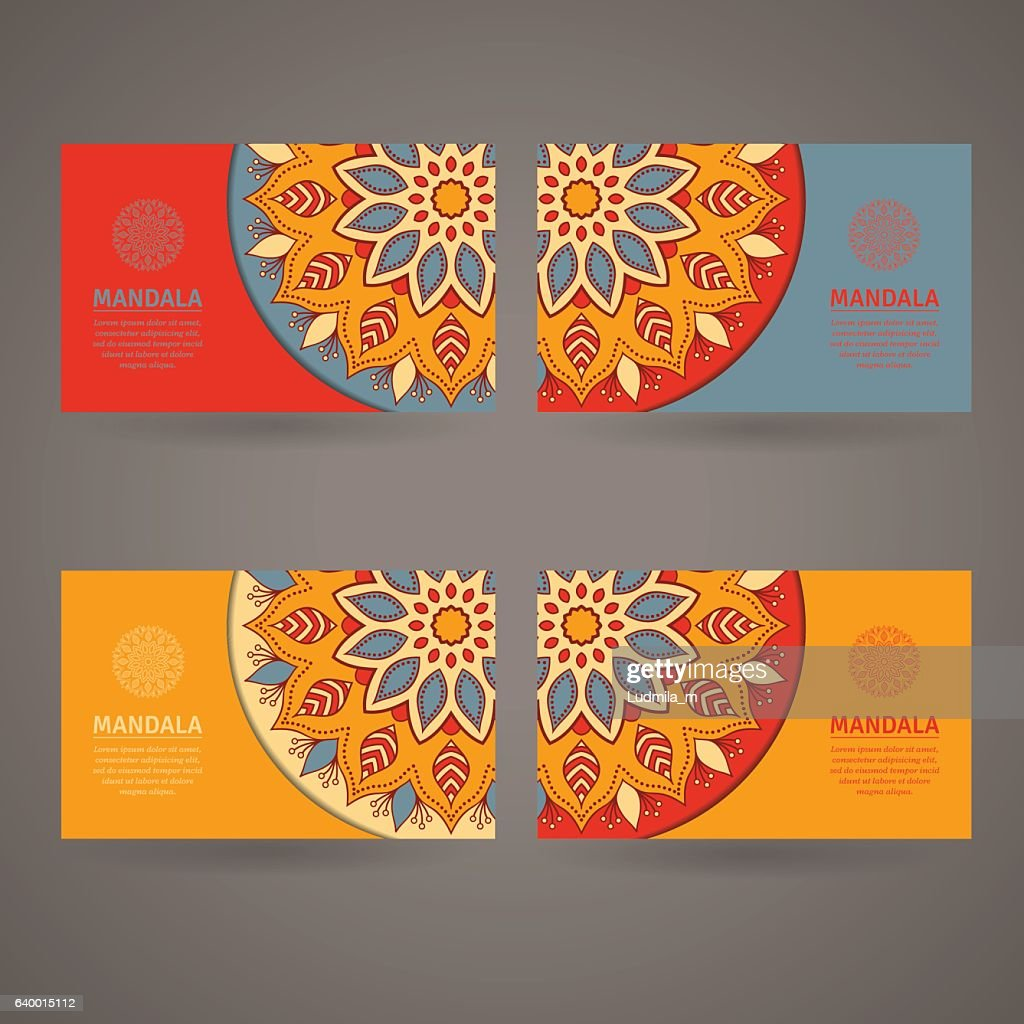 Set Of Cards Flyers Brochures Templates With Mandala Pattern Clipart