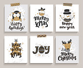 Set of cards for new year and christmas.