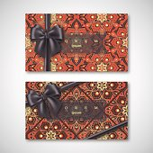Set of cards in oriental style