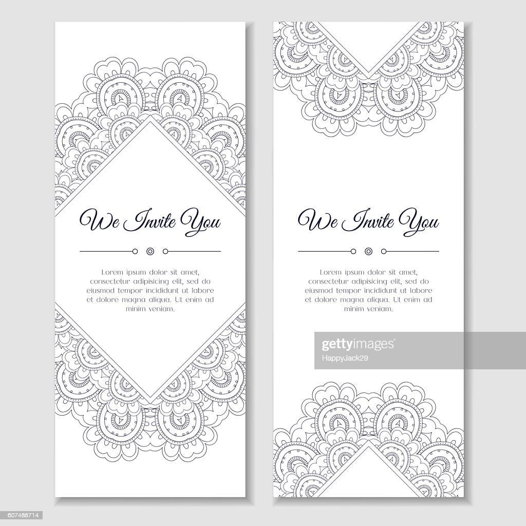 Set of cards or banners with mandala