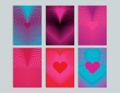 Set of cards with background heart-shaped lines.
